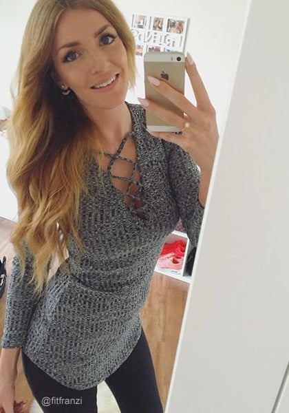 fitfranzi is wearing lookbookstore dark grey ribbed mini dress