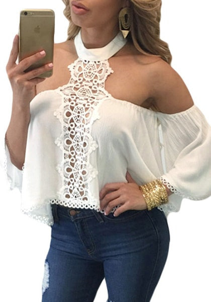 front shot of model in white halter off-shoulder crop top