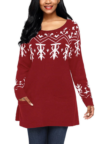Christmas Long Sleeves Pocket Tunic Knit Sweater