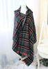 full view of green plaid blanket scarf