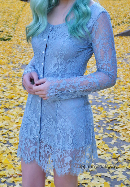 laurencalaway is wearing cadet grey lace button-front dress