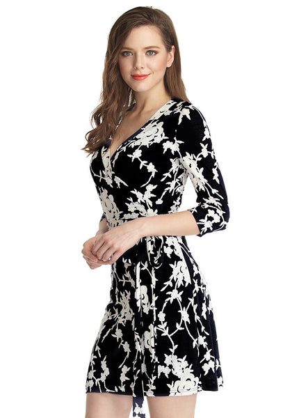 left shot of model in black floral plunge wrap dress