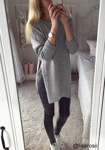 lisarosii is wearing lookbookstore grey side slit tunic sweater