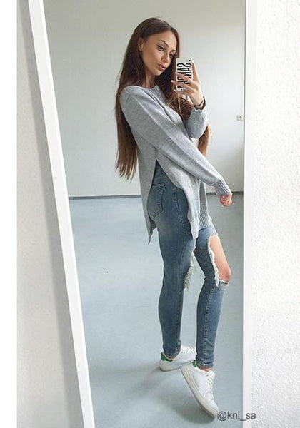 ni_sa is wearing lookbookstore grey side slit tunic sweater