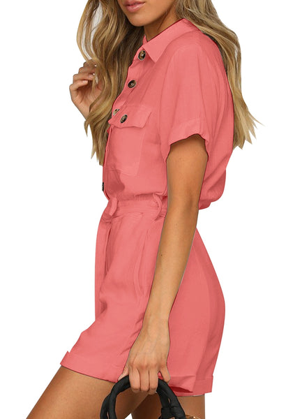 Side view of model wearing coral pink short sleeves button-down belted romper