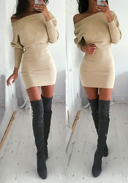 pretty model is wearing Beige One-Shoulder Dress with high boots