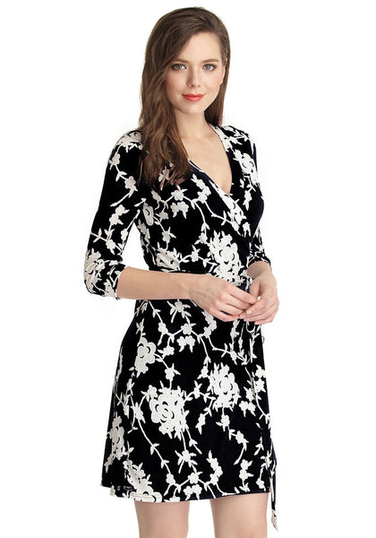 right shot of model in black floral plunge wrap dress