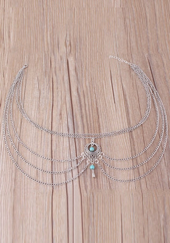 Silver Multi-Layered Turquoise Necklace