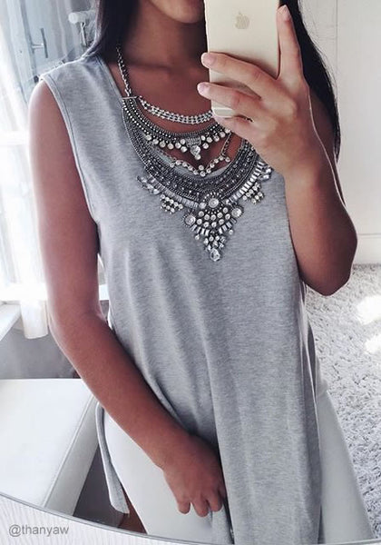 thanyaw is wearing lookbookstore Grey Side-Slit Sleeveless Tunic