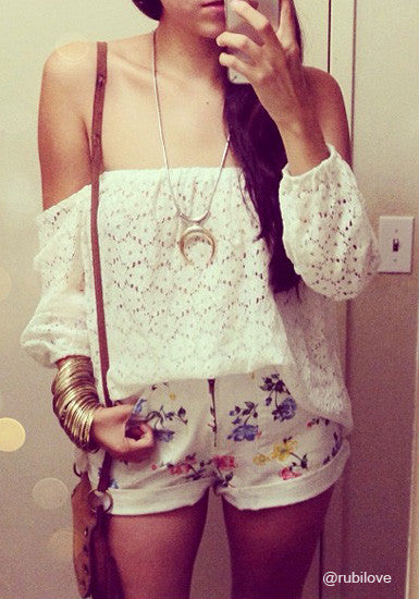 Eyelet Off Shoulder Top - Looks Lovely with a Necklace