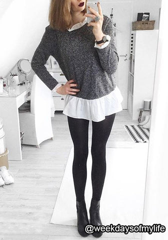 Black and White Ruffled Blouse
