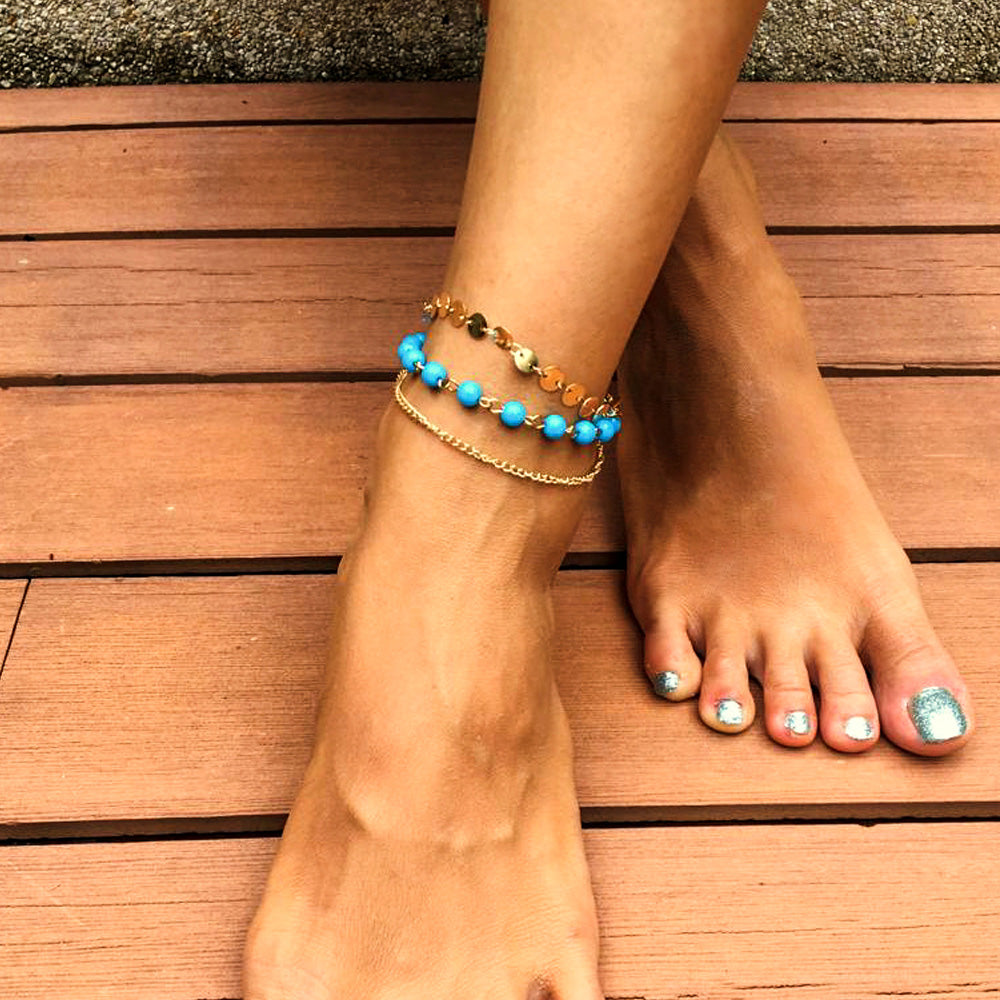 Boho Bead Coin Link Anklet