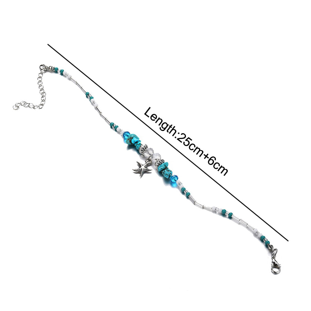 Boho Starfish Stone 2-Pc Anklet