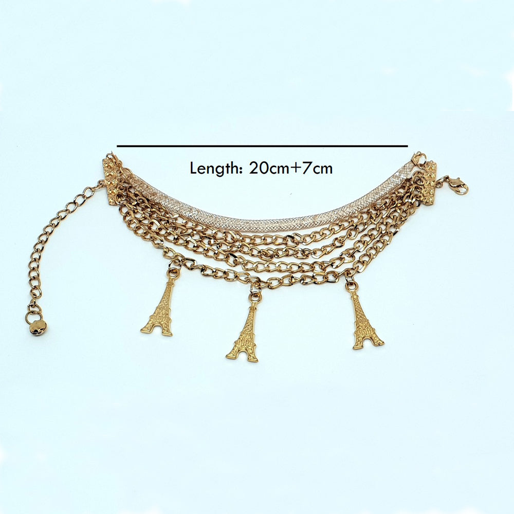 Multi Layered Eiffel Charm Anklet