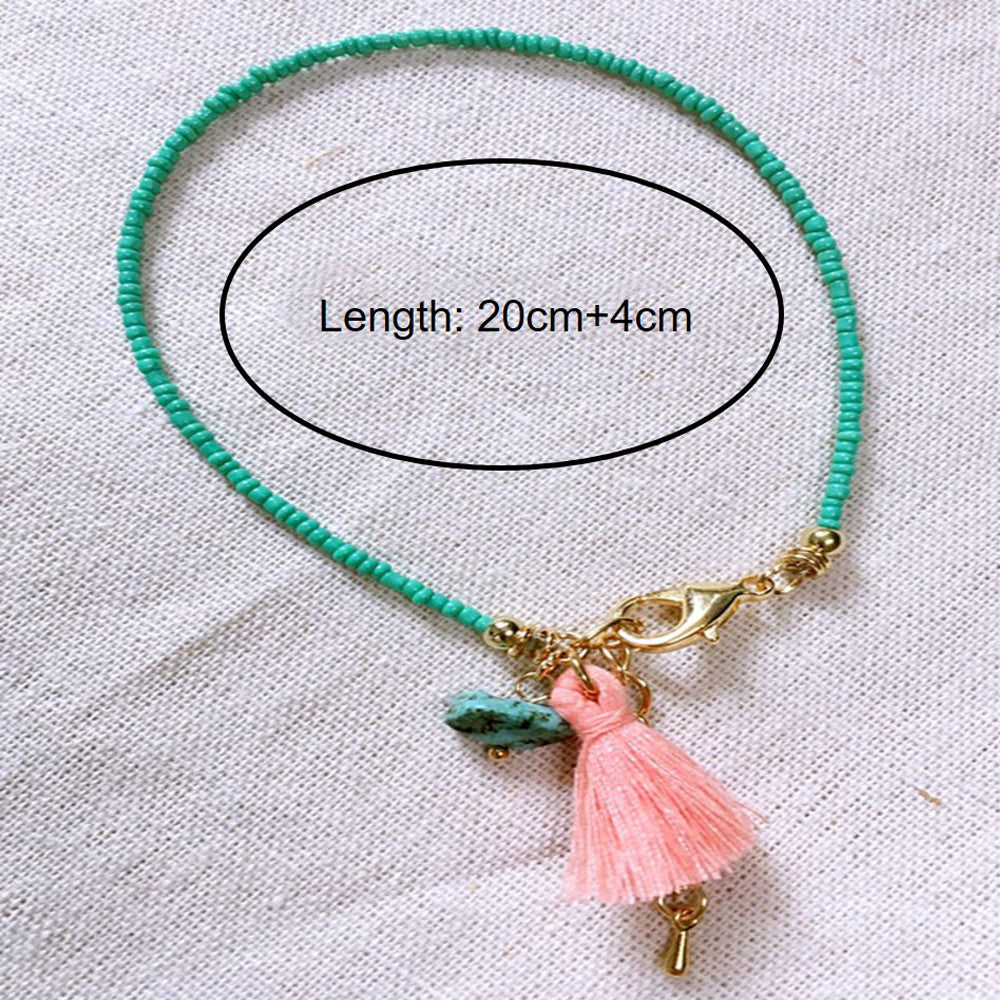 Boho Bead Anklet With Pink Tassel