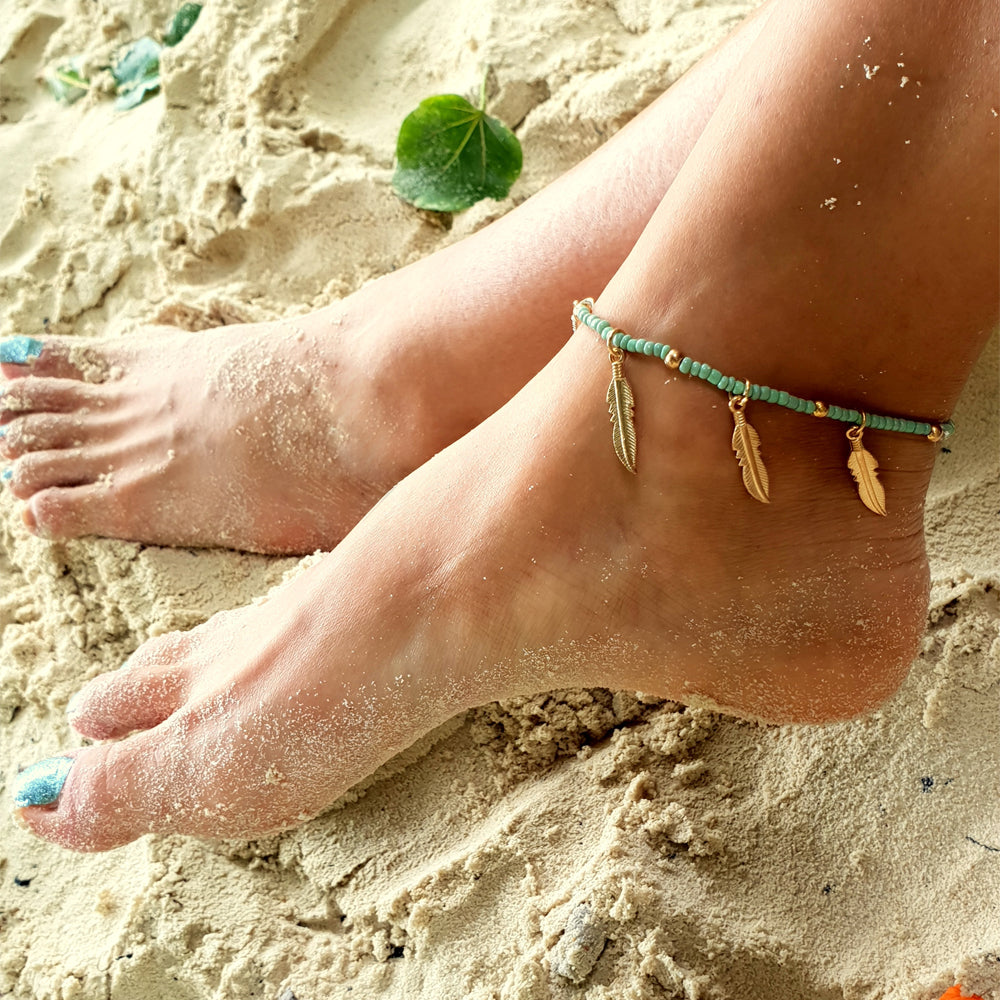 Bohemian Summer Anklet With Gold Leaves
