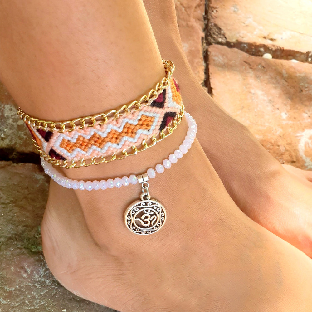 Tribal Weave Crystal Beads 2-Pc Anklet