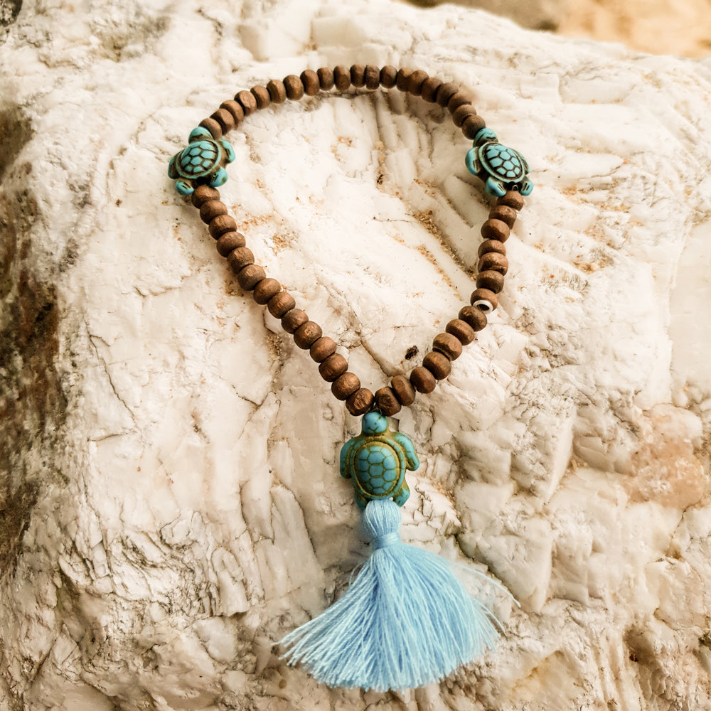 Turtle Bead Anklet With Blue Tassel
