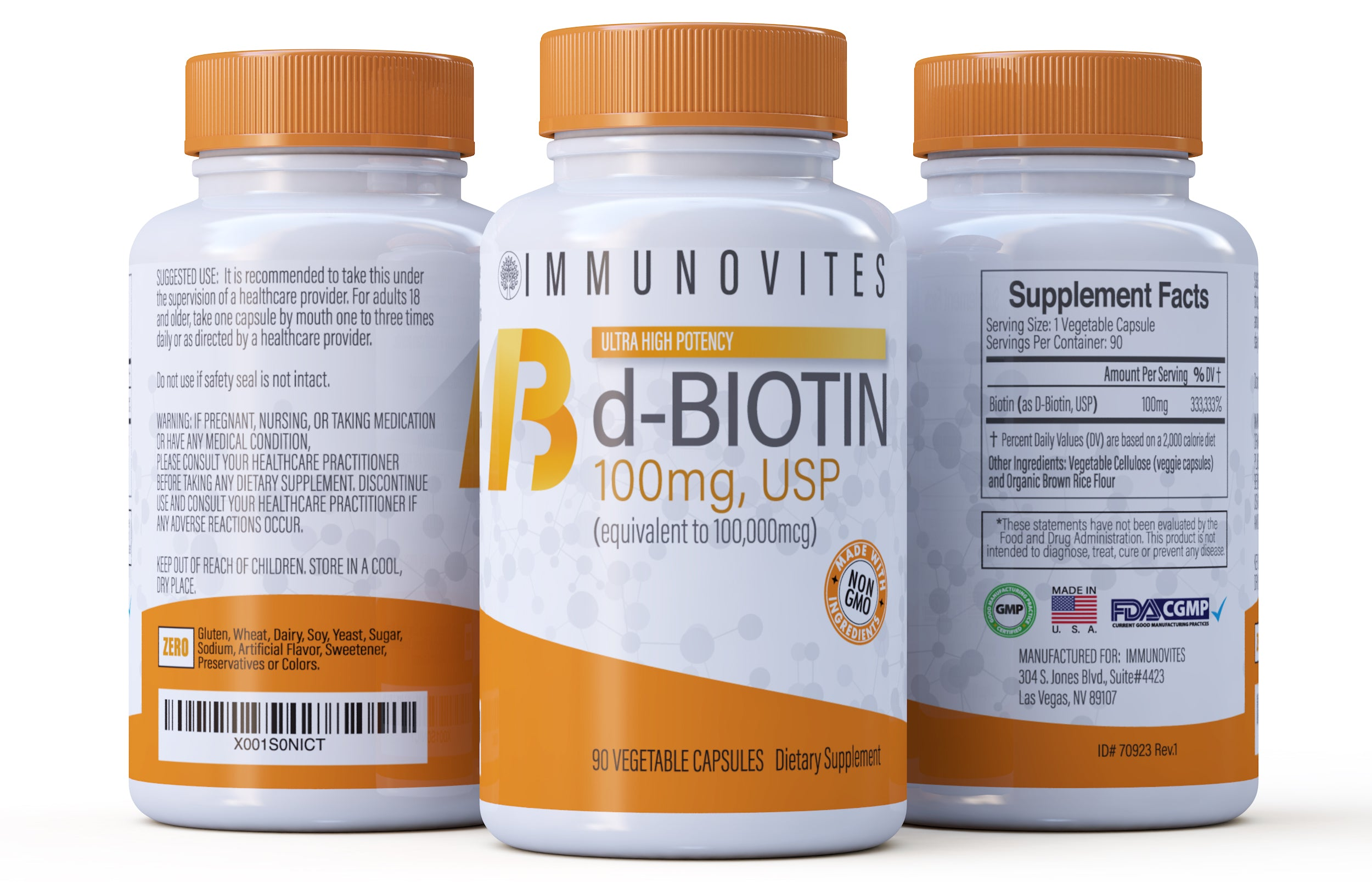 High Dose d-Biotin 100mg - (90ct Bottles) High Potency