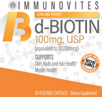 High Dose d-Biotin 100mg - 90ct Bottle - IMMUNOVITES
