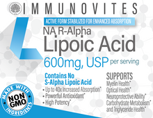 Load image into Gallery viewer, Stabilized R-Alpha Lipoic Acid ((TRUE)) 600mg Per Serving 60ct Bottle - Veggie Capsule
