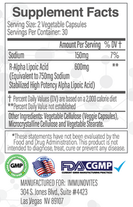 Stabilized R-Alpha Lipoic Acid ((TRUE)) 600mg Per Serving 60ct Bottle - Veggie Capsule