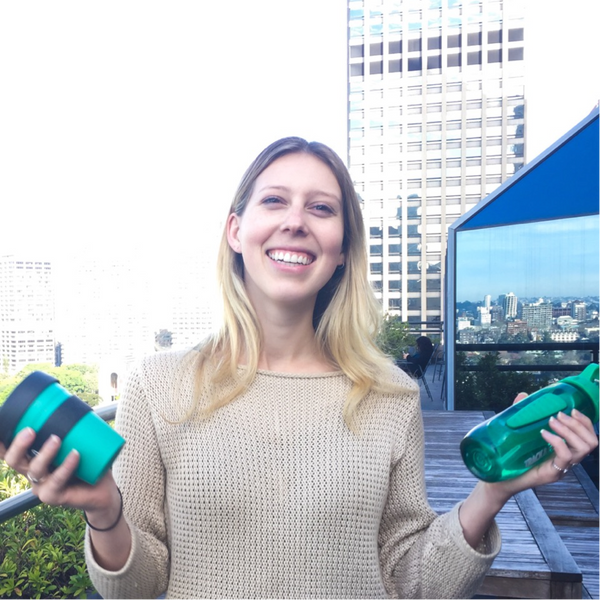 Bronte from 1 Million Women with her reusable cup and water bottle
