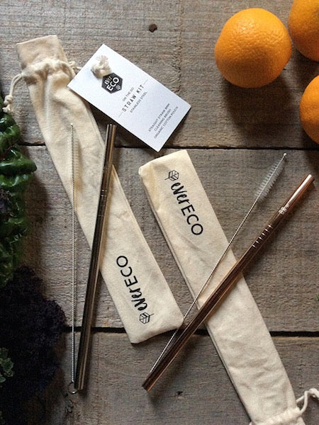 On-the-go straw kit with cotton pouch and cleaning brush