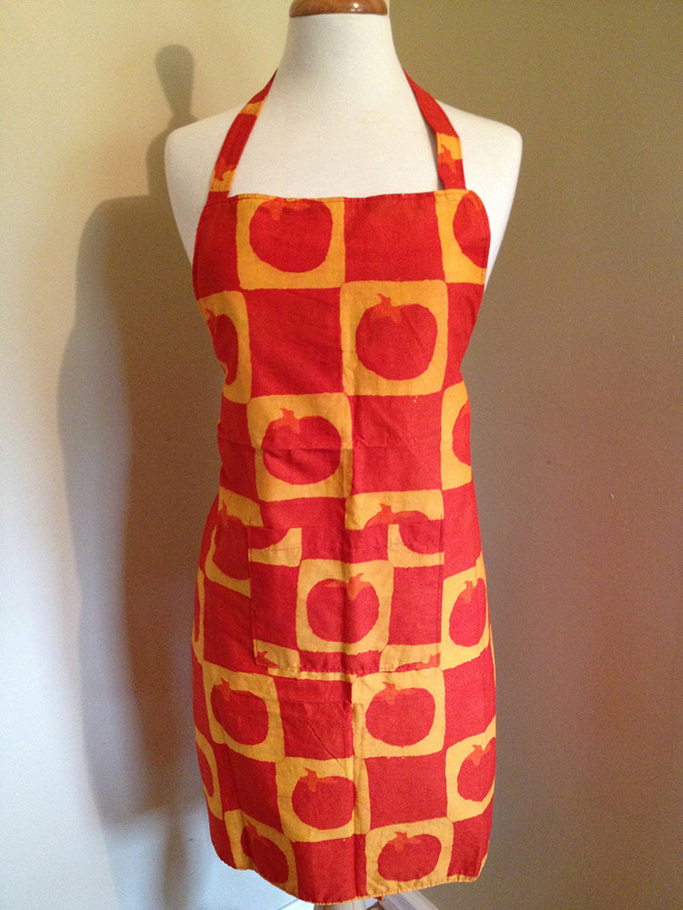 Reversible Recycled Apron tomatoes red