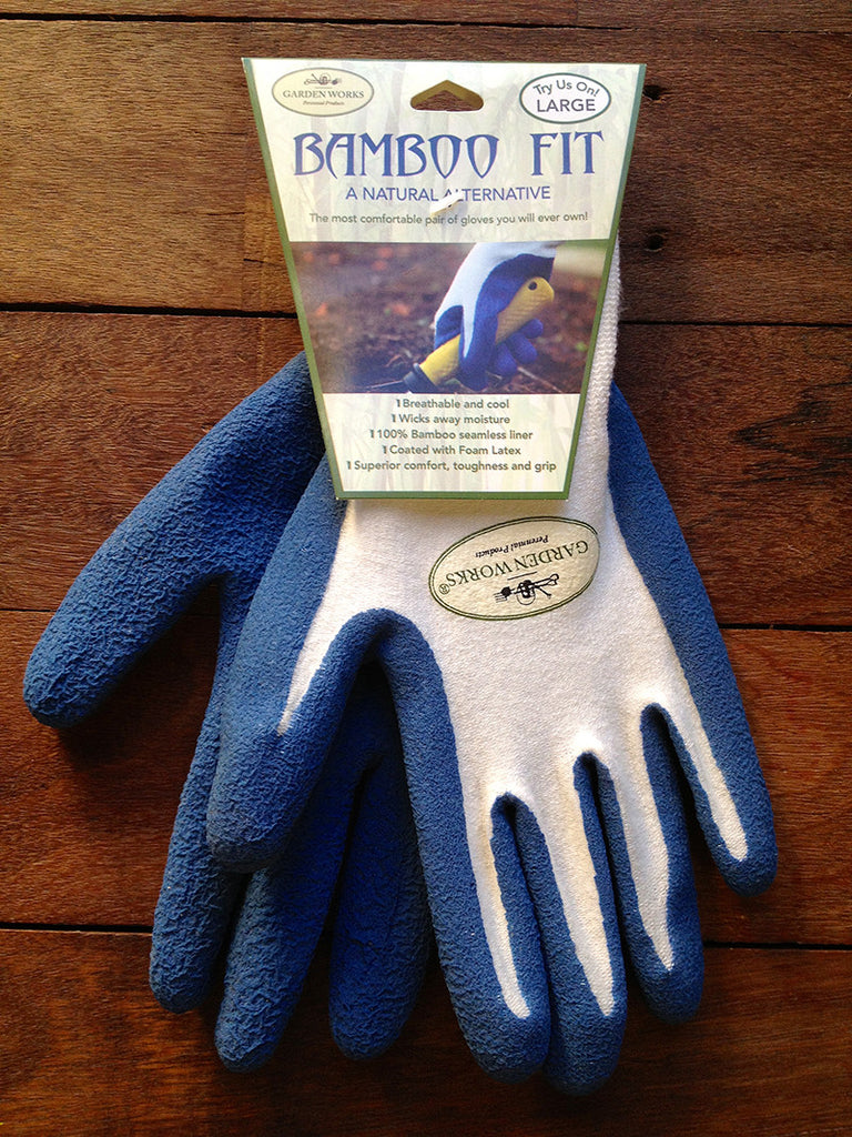 100% bamboo fibre sustainable gardening gloves in blue