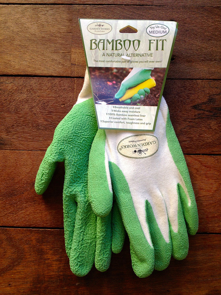100% bamboo fibre sustainable gardening gloves in green