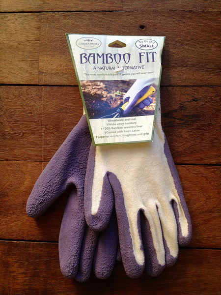 100% bamboo fibre sustainable gardening gloves in blue green and purple