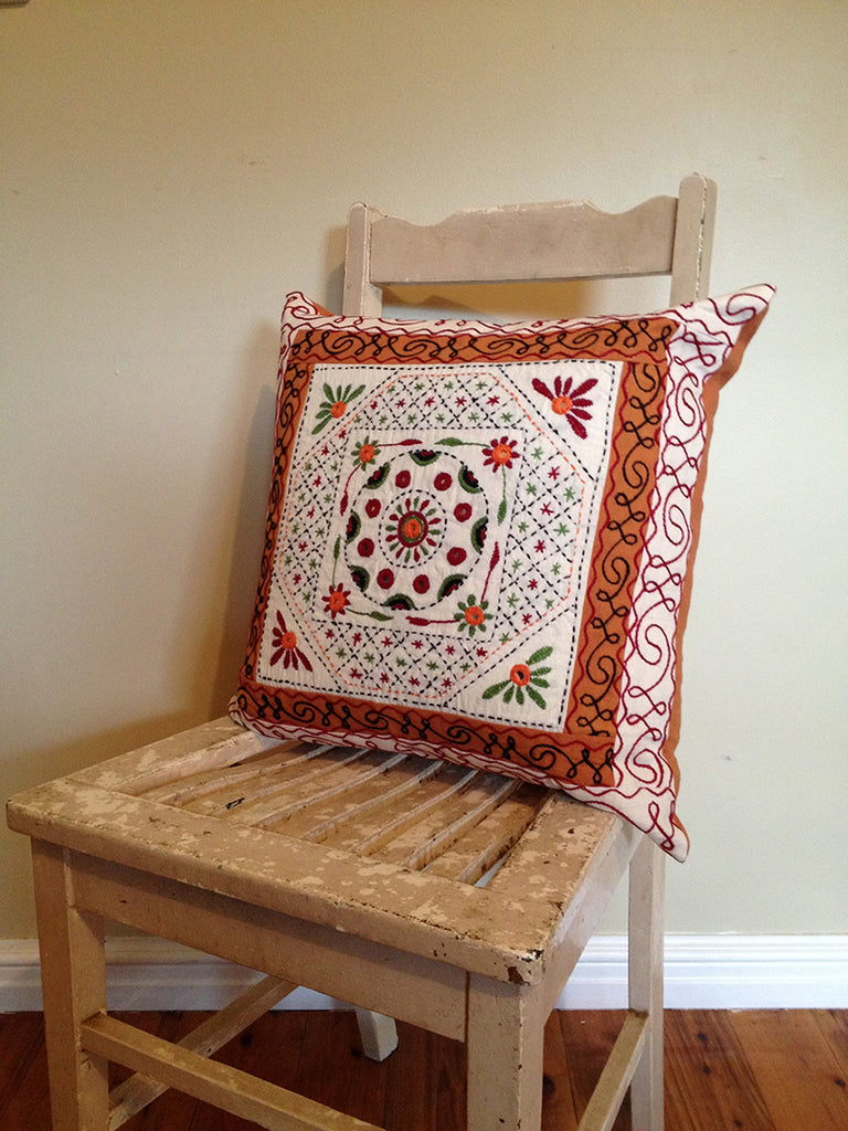 Handstitched quilted cotton square cushion with mirror detail