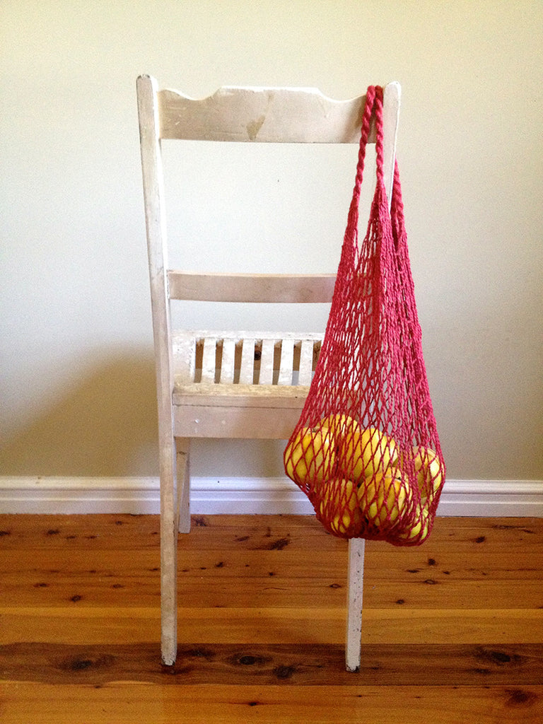 Jute String Bag red