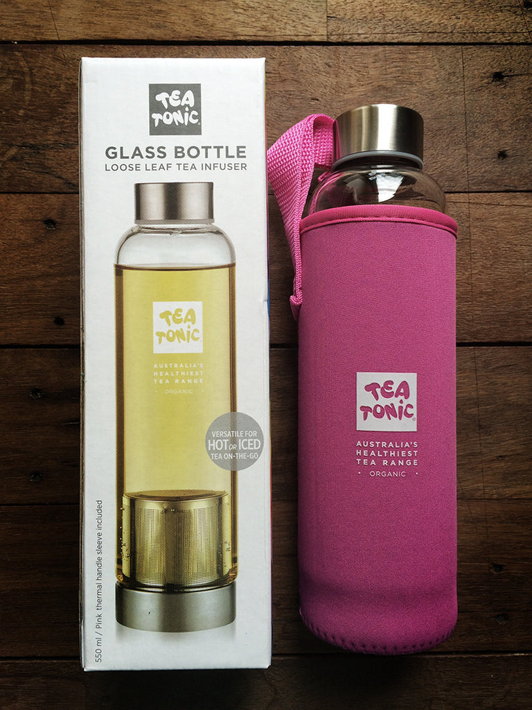 Glass Bottle - Loose Leaf Tea Infuser with Pink Neoprene Sleeve