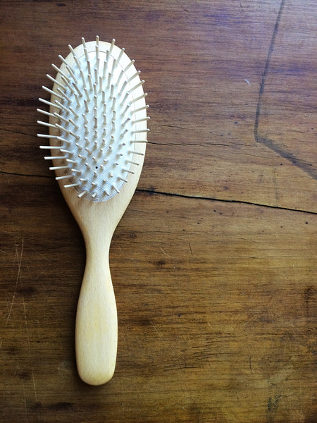 beechwood hair brush with wooden pins
