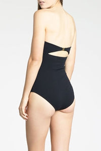 Women Black Scalloped Trim Bow Bandeau One Piece Swimsuit