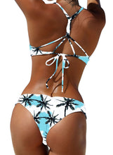 Load image into Gallery viewer, Coconut Tree Printed Strap Bikini Two Piece Swimsuits