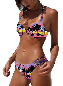 Coconut Tree Printed Strap Bikini Two Piece Swimsuits
