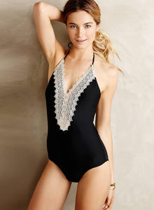 Women's Floral Lace Paneled Halter One Piece Swimsuit