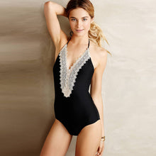 Load image into Gallery viewer, Women's Floral Lace Paneled Halter One Piece Swimsuit