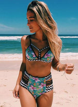Load image into Gallery viewer, Women's Fashion Triangle Top High Waist Printed Bikini Swimwear