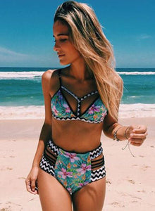 Women's Fashion Triangle Top High Waist Printed Bikini Swimwear