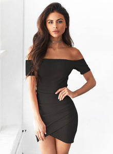 Women's off Shoulder Bodycon Irregular Dress