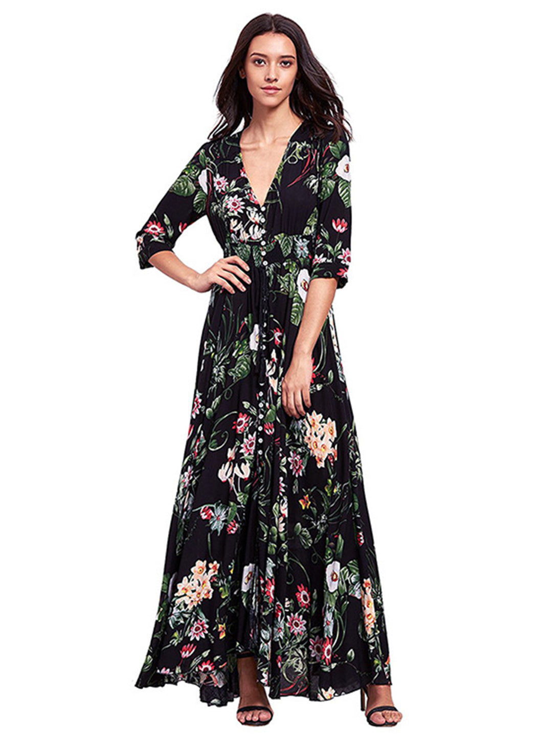 Women's V Neck Elastic Waist Floral Printed Maxi Bohemian Dress