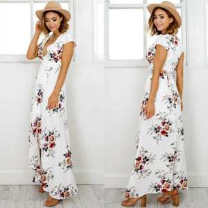 Women's Deep V Neck Short Sleeve Floral Printed Split Maxi Dress
