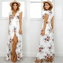 Load image into Gallery viewer, Women's Deep V Neck Short Sleeve Floral Printed Split Maxi Dress