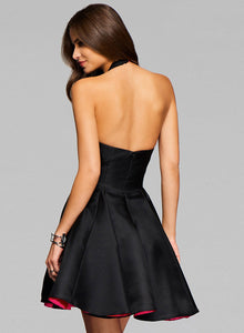 Women's Halter V Neck Sleeveless Backless A-line Evening Dress