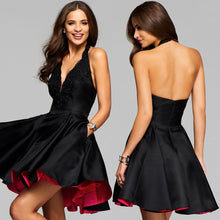 Load image into Gallery viewer, Women's Halter V Neck Sleeveless Backless A-line Evening Dress