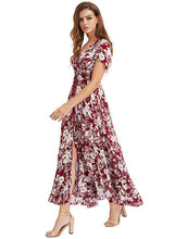 Load image into Gallery viewer, Women's Boho V Neck Short Sleeve High Slit Floral Loose Maxi Dress
